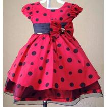 Vestido Infantil Da Minnie Vermelho C/ Laço - Tam. 1 / 3