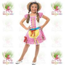 Vestido Junino Caipira Infantil ° Festa Junina ° Flor Rosa-x