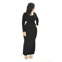 Vestido Longo Manga Longa Sereia Viscolycra - Promoção