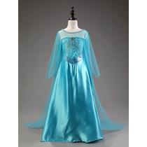 Lindo Vestido Fantasia Elsa Frozen Mais Coroa E Luva Brasil
