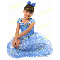 Fantasia Vestido De Festa Infantil Princesa Cinderela
