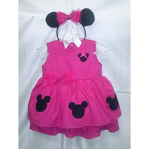 Vestido Festa Infantil Minnie - Tema Minie Com Babado.