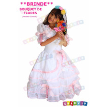 Vestido De Noiva Caipira Junino Junina + Brinde Bouquet Luxo