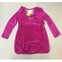 Vestido Marisol Infantil Veludo - Rosa Ref: 13862
