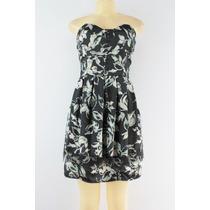 American Rag Cie Strapless Vestido Floral Preto Impressão