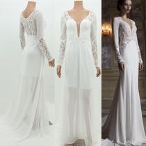 Vestido Noiva Casamento Civil Renda Tule Branco Frete.gratis