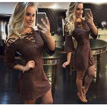Vestido Feminino Curto Trançado Suede - Pimenta Doce