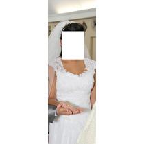 Vestido De Noiva Em Tule E Renda - Usado Apenas 2 Hrs
