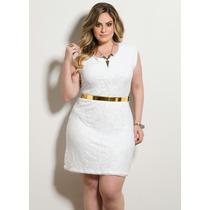 Vestido Tubinho Renda Branco Plus Size