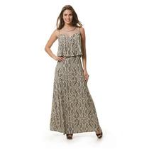 Lindo Vestido Estampado Longovestido Em Viscose Com Elastano