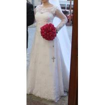 Vestido De Noiva De Renda Francesa Com Véu