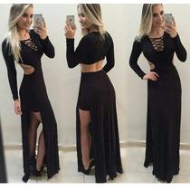 Vestido Longo Short Com Fendas E Decote Traçados Lindo