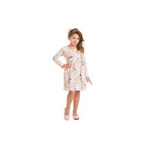 Vestido Infantil Inverno Festa Algodão Floral Tam 4,6,8,10