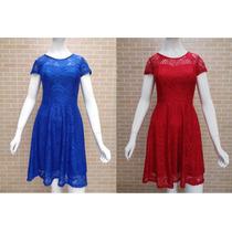Kit 2 Peças Vestido Renda Moda Evangélica Azul Vermelho M