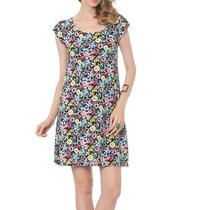 Vestido Floral Estampado Manga Curta