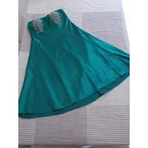 Vestido Festa Verde Setim Tomara Que Caia Collins Nº 38