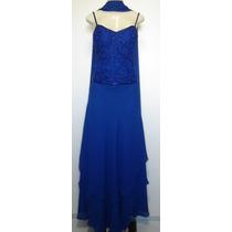 Vestido Festa Importado Crepe De Seda Azul Tamanho M
