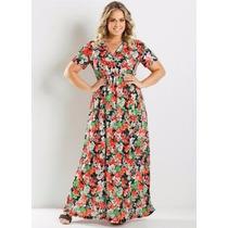 Vestido Longo Estampa Plus Size - Ref 1819380 - Frete Gratis