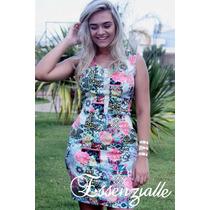 Lindo Vestido De Sarja P/ Festa Verão Estampado Tam G