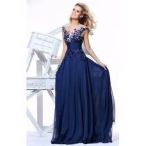 Vestido De Festa Longo Azul Royal Madrinha Casamento