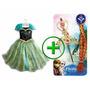 Vestido Anna Frozen E Acessórios Fantasia Frozen Infantil