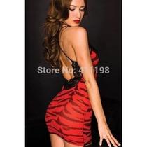 Micro Vestido Lingerie 2a Pele Tigre Com Transparecia Sexy