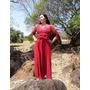 Vestido Vermelho Com Manga Cetim E Mousseline