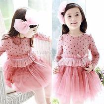 Vestido Infantil Bolinhas - Importado - Pronta Entrega