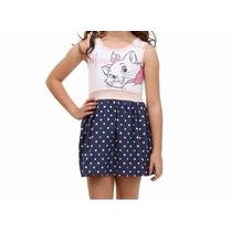 Vestido Infantil Disney Marie Saia Poá Tam 6! Novo