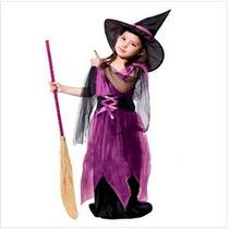 Fantasia Infantil Feminina Bruxinha Halloween Frete Grátis