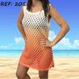 Vestido Saída De Praia Banho Verão Tricô Crochê Camiseta
