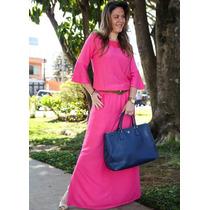 Vestido Longo Crepe Rosa Acompanha Cinto. Kabene Jeans