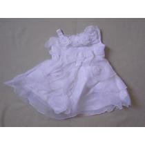 Vestido Infantil Batizado/festa Branco Tam 1 Flores Diagonal