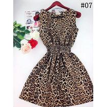 Impecável Vestido Luxo Chifon Onça Oncinha Leopardo C/ Elast