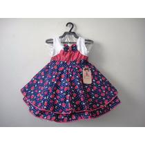 Vestido Infantil Festa Morangos 1061 - Bambina Frete Grátis