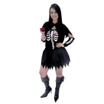 Fantasia Esqueleta Sexy ,capa,luvas,halloween,dia Das Bruxas