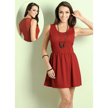 Vestido Detalhe Tulê Nas Costas Vermelho