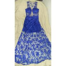 Vestido Longo De Renda Azul Royal