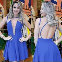Vestido Verão Curto Sexy Azul Royal Com Pérolas Frete Grátis