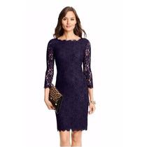 Vestido Feminino Gg Elegante Clássico Fino Em Renda Azul