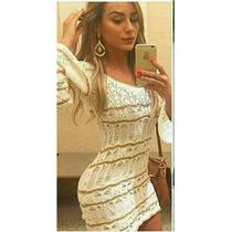 Vestido Tricot Trico Roupa Feminina Croche Outono Inverno