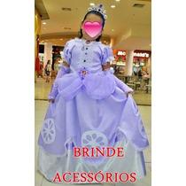 Vestido Princesa Sofia Com Luvas -coraa E Colar -princesinha