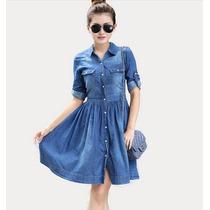 Vestidos Curtos Feminino Jeans Plus Size Azul Com Manga