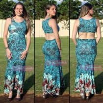 Vestido Longo Sereia Estampado Viscolycra Com Decote Costas