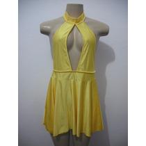 Vestido Amarelo Sexy Curto Licra Veste M - G Ótimo Estado