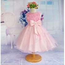 Vestido Infantil Festa Princesa Rosa - Pronta Entrega