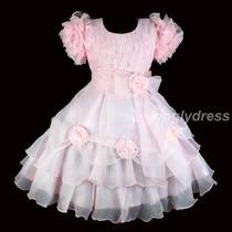 Vestido Infantil Festa, Daminha, Princesa. Com Manguinhas.