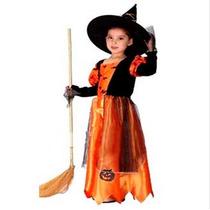 Fantasia Infantil Feminina Bruxa Abóbora Halloween Importado