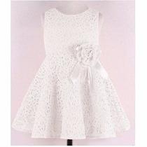 Vestido Infantil Branco De Renda Pronta Entrega Frete Grátis