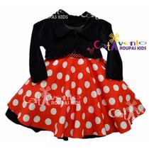 Vestido Infantil Festa Minnie Com Bolero E Tiara Minnie